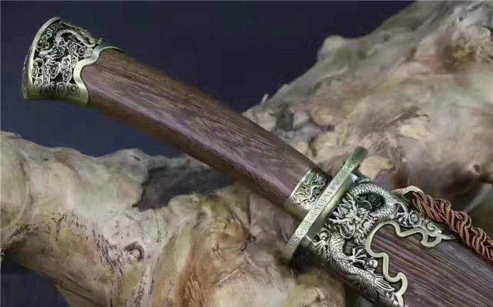 花纹钢烧刃_御龙清刀-12寸高锰钢仿古花梨木_玄龙刀剑